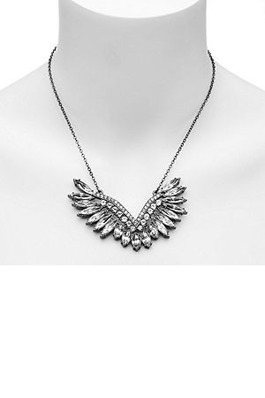 CC SKYE Rihanna Crystal Angel Wing Necklace Gunmetal 1 ea