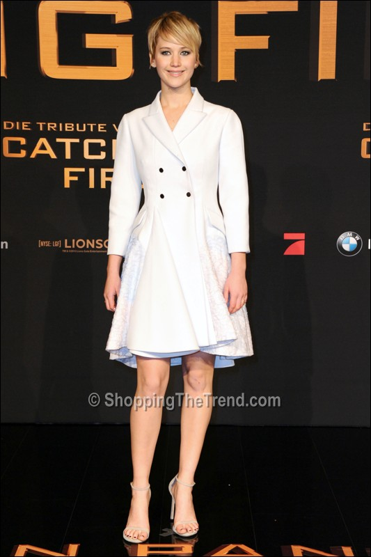Lawrence in Christian Dior white coat - 'Catching Fire' German ...