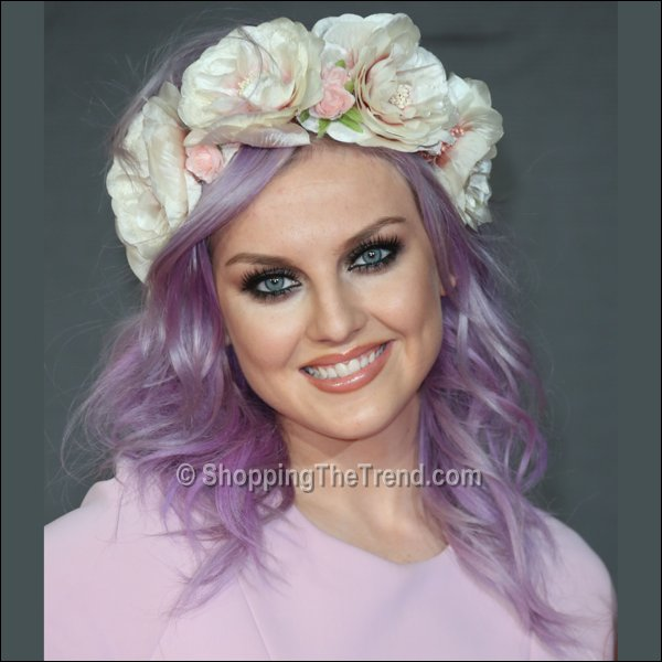 Perrie Edwards purple hair & flowers - BRIT Awards 2013