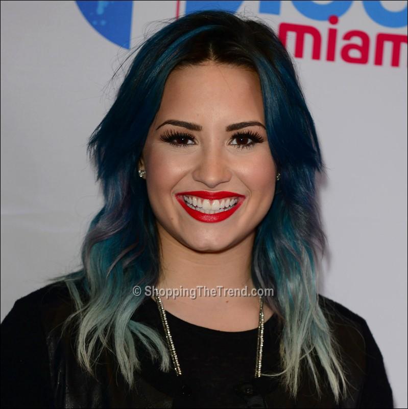 demi lovato blue hair y100 s jingle ball 2013