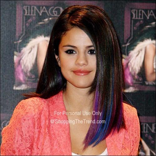 Selena Gomez blue & purple dip dyed hair - chic & sleek!