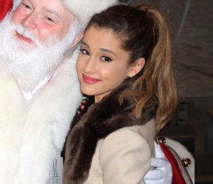 Ariana Grande kate spade coat with fur collar - Empire State Building