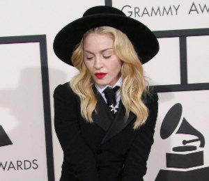 Madonna in Ralph Lauren suit at the Grammy Awards 2014