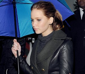 Get the Look: Jennifer Lawrence Burberry Leather Sleeve Coat in London - Feb 8