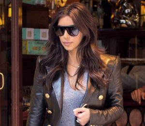 Kim Kardashian Balmain leather jacket - NYC Street Chic