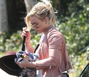 Hilary Duff in IRO pink leather jacket - LA Street Chic