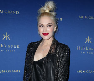 Gwen Stefani cool in ALC studded leather jacket in Vegas