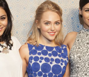 Shop AnnaSophia Robb alice + olivia blue dot dress - NY Fashion Week