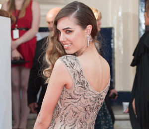 Amber Le Bon nude beaded gown at BAFTA TV Awards by Adrianna Papell