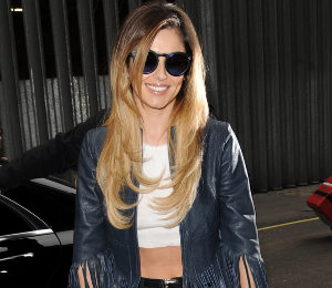 Cheryl Cole fringe leather jacket & crop top at Kiss FM Studios - gorgeous!