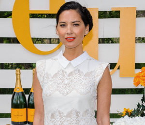 Olivia Munn white lace dress by Lover at Veuve Cliquot Polo Classic