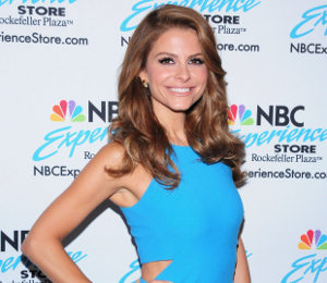 Maria Menounos blue dress by Elizabeth & James at NYC book signing
