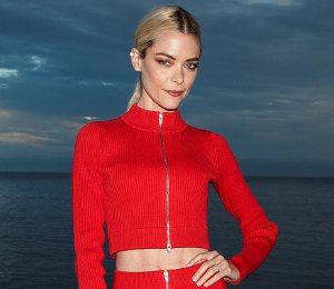 Jaime King red crop top & skirt by Alexander Wang at REVOLVE event!