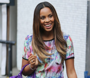 Rochelle Humes abstract print top & shorts at ITV Studios by Very