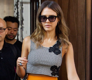 Jessica Alba in Houghton striped top, marigold skirt & Kotur sandals in NYC