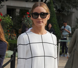 Monochrome Trend: Olivia Palermo Chloe check dress at Paris Fashion Week