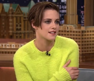 Kristen Stewart green sweater & leather skirt on Jimmy Fallon - get the look!