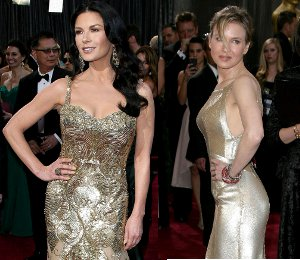 Catherine Zeta-Jones in Zuhair Murad & Renee Zellweger - gold at the Oscars 2013