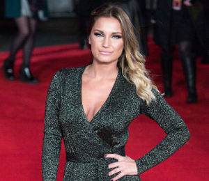Sam Faiers DVF wrap dress at 'Mockingjay' Premiere - fab in black & gold!