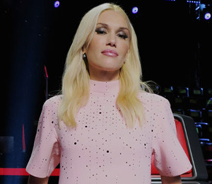 Gwen Stefani pink dress on The Voice by Christoper Kane (November 11)