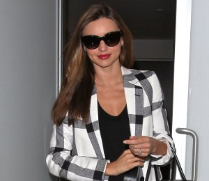 Shop Miranda Kerr Stella McCartney check jacket & Givenchy bag - LAX on Feb 25