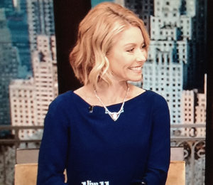 Kelly Ripa blue jumpsuit by DVF on 'LIVE! with Kelly & Michael'