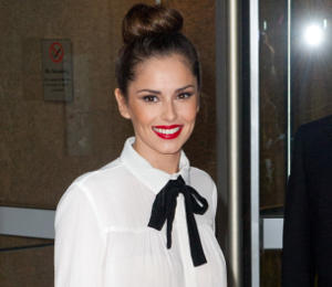 Cheryl Cole Maje blouse, leather leggings & bow pumps at Charity Trading Day!