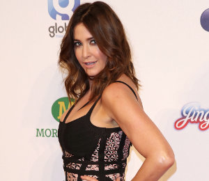 Lisa Snowdon dress at Capital FM Jingle Bell Ball by Herve Leger