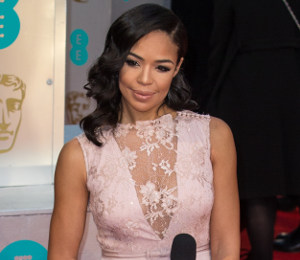 Sarah-Jane Crawford pretty in pink Ariella Couture at BAFTAs 2015