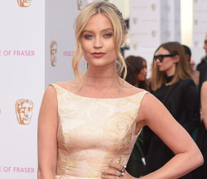 Laura Whitmore gold dress at BAFTA TV Awards by Adrianna Papell