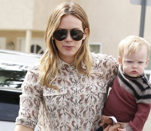 Shop Hilary Duff Tory Burch seahorse print shirt in L.A. on March 6
