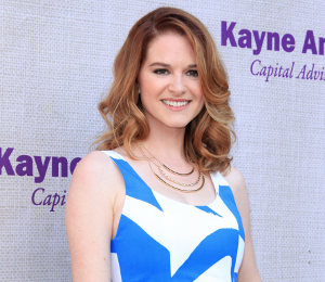 Sarah Drew blue & white dress by alice + olivia at Chrysalis Butterfly Ball