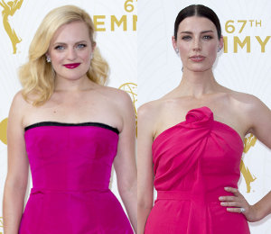 Elisabeth Moss, Jessica Pare in Pink Dresses