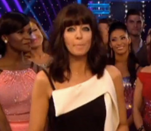 2d10d2bb71bfb ... Claudia Winkleman black   white dress on Strictly Come Dancing -  September 25