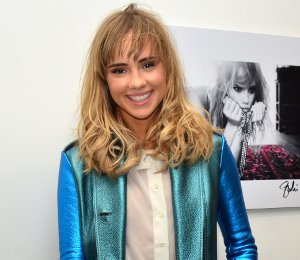 Shop Suki Waterhouse Burberry Prorsum metallic coat - 'I'll Be Your Mirror'