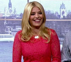 Shop Holly Willoughby DVF pink lace dress - 'This Morning' April 22