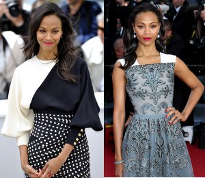 Zoe Saldana at Cannes in Emanuel Ungaro & Valentino - 'Blood Ties'
