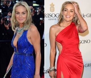 Sharon Stone in Roberto Cavalli at Cannes - Premiere & de Grisogono Party