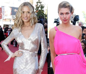 Petra Nemcova & Jessica Hart at Cannes - 'Behind the Candelabra' Premiere