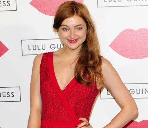 Antonia Clarke ALICE by Temperley red jumpsuit - Lulu Guinness Paint Party