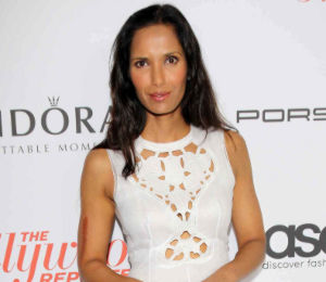 Shop Padma Lakshmi Carven white dress - THR Pre-Emmy Party