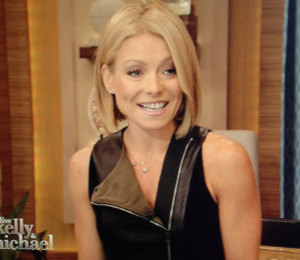 Kelly Ripa black leather dress - 'LIVE! with Kelly & Michael' Sep 25