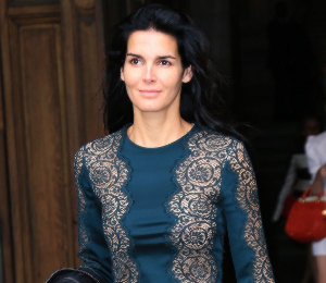 Angie Harmon in Stella McCartney lace dress - Paris Fashion Week