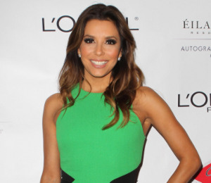 Eva Longoria in David Koma green dress - Eva's Heroes Casino Night