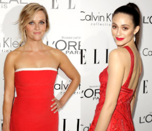 Reese Witherspoon & Emmy Rossum in red - ELLE Women in Hollywood 2013