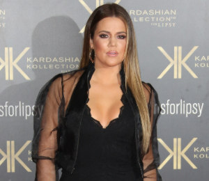 Khloe Kardashian black lace jumpsuit - Lipsy launch party