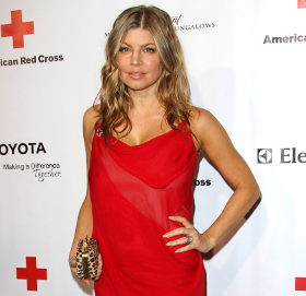 Image showing Red Hot: Fergie in Helmut Lang red dress @ American Red Cross Red Tie Affair - buy online!