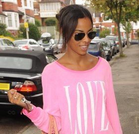 Image showing Street Chic: Buy Rochelle Wiseman pink Love jumper by Wildfox Couture online - casual & fun!