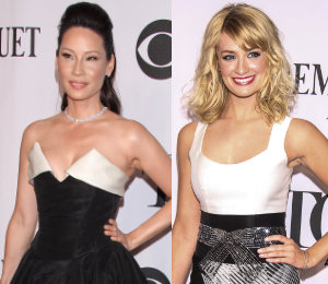 Lucy Liu & Beth Behrs - monochrome trend at the Tony Awards 2014