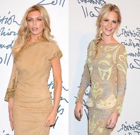 Image showing Abigail Clancy in Giles vs Poppy Delevigne in Matthew Williamson @ British Fashion Awards 2011 - Blondes in Beige!